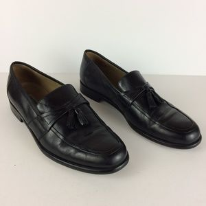 Johnston & Murphy Black Leather Tassel Loafers 12